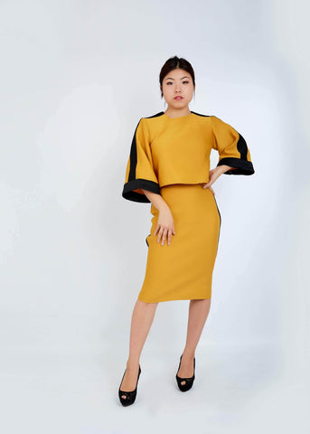 WAA - Contrast Taping Crop Top and Pencil Skirt Set - waafashion