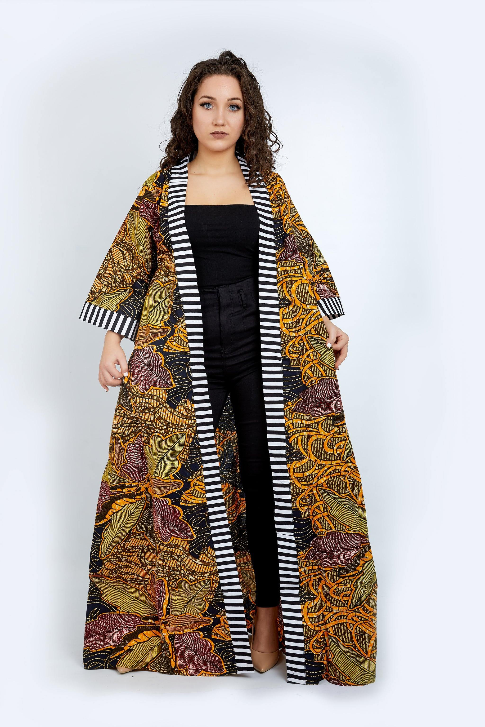 WAA - Bauchi Kimono with Contrast Monochrome Taping - waafashion
