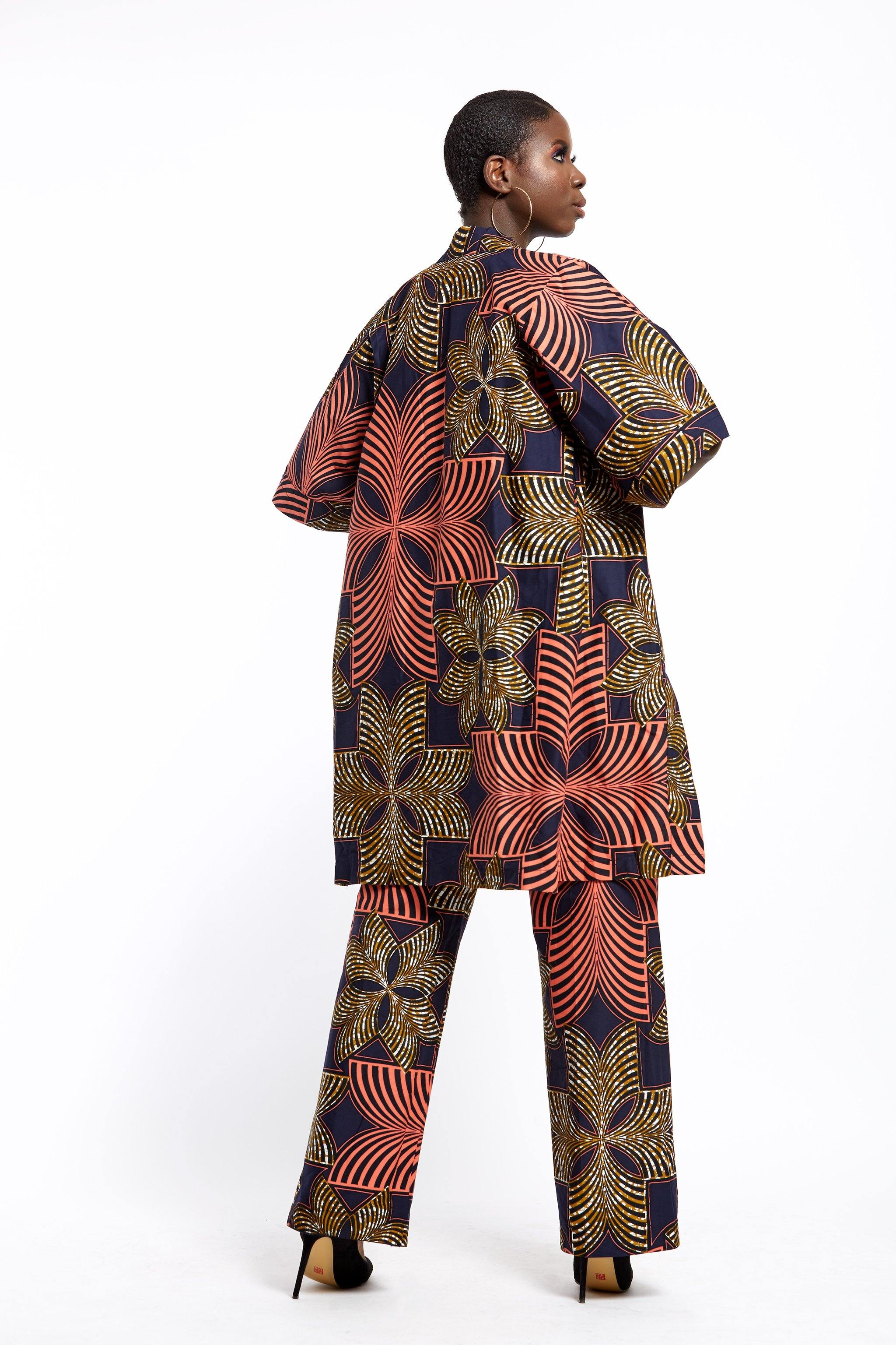WAA- Lafiaji Ankara Kimono and Trouser Set - waafashion