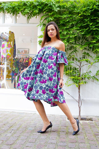 WAA - Off Shoulder Ankara Dress - waafashion