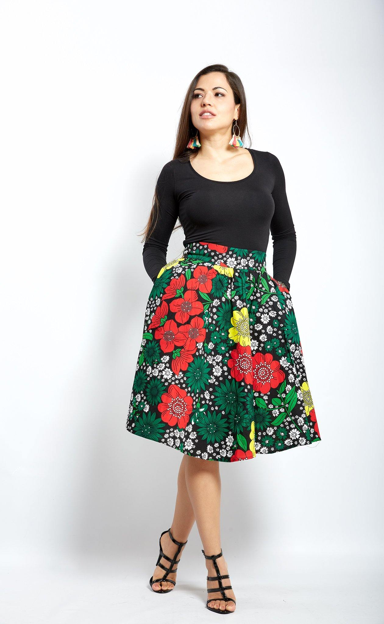 African Print Skirt- stoned ankara- Ankara Midi Skirt - waafashion