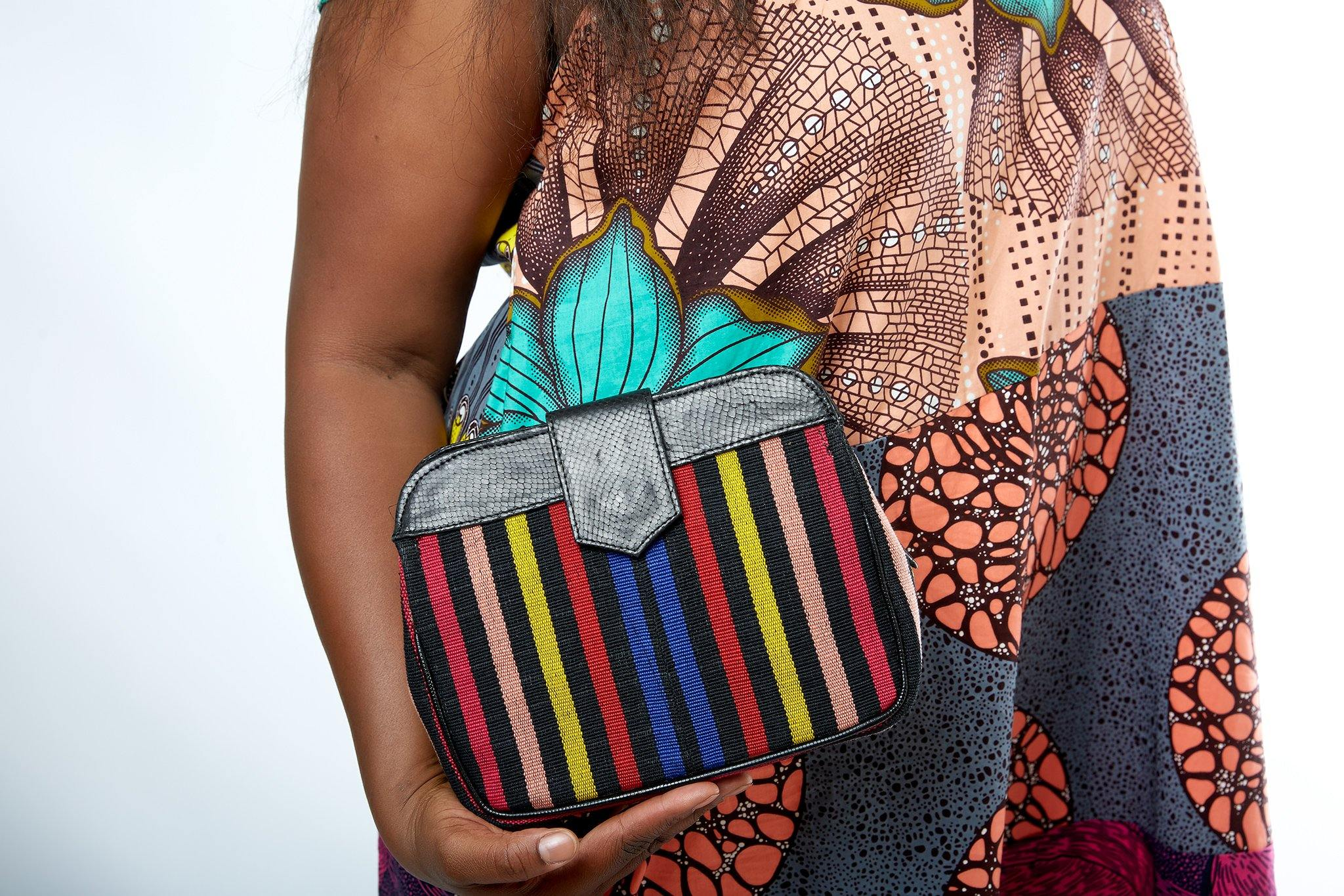 O'Eclat- Mila Aso-Oke Clutch Bag (Midi) - waafashion