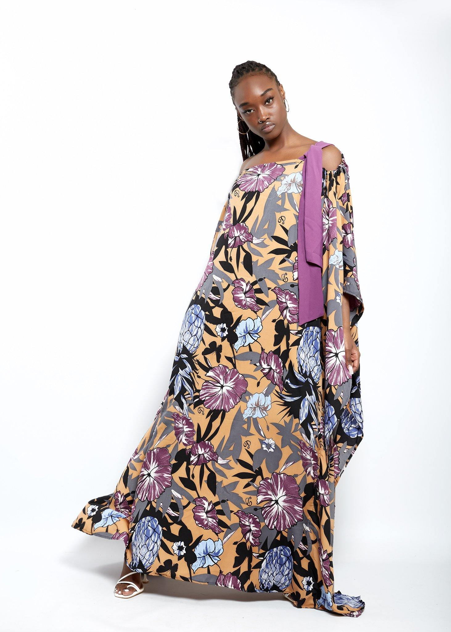 WAA- Minna off-the-shoulder Boubou Dress - waafashion