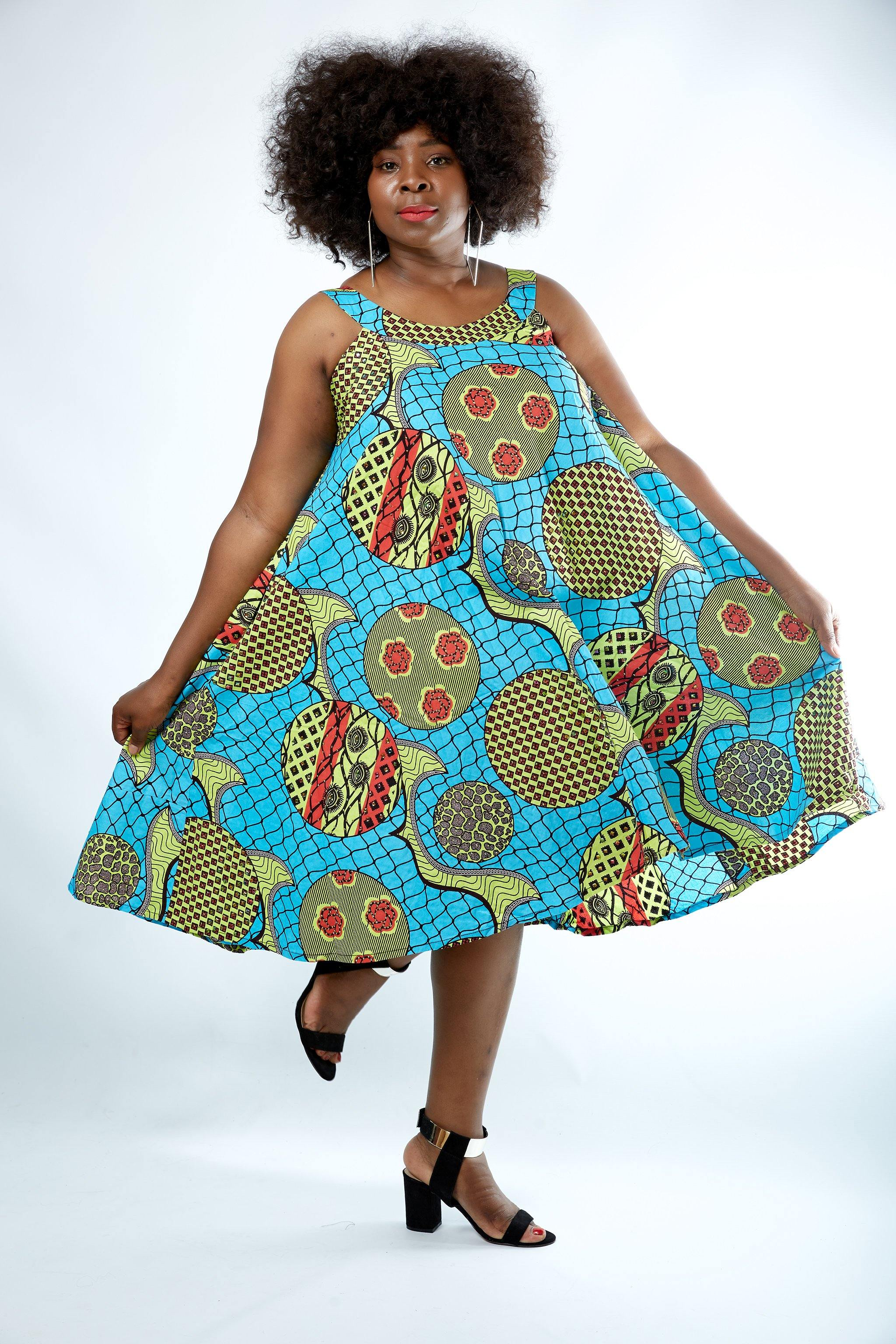 WAA- Embellished Ankara Shift Dress - waafashion