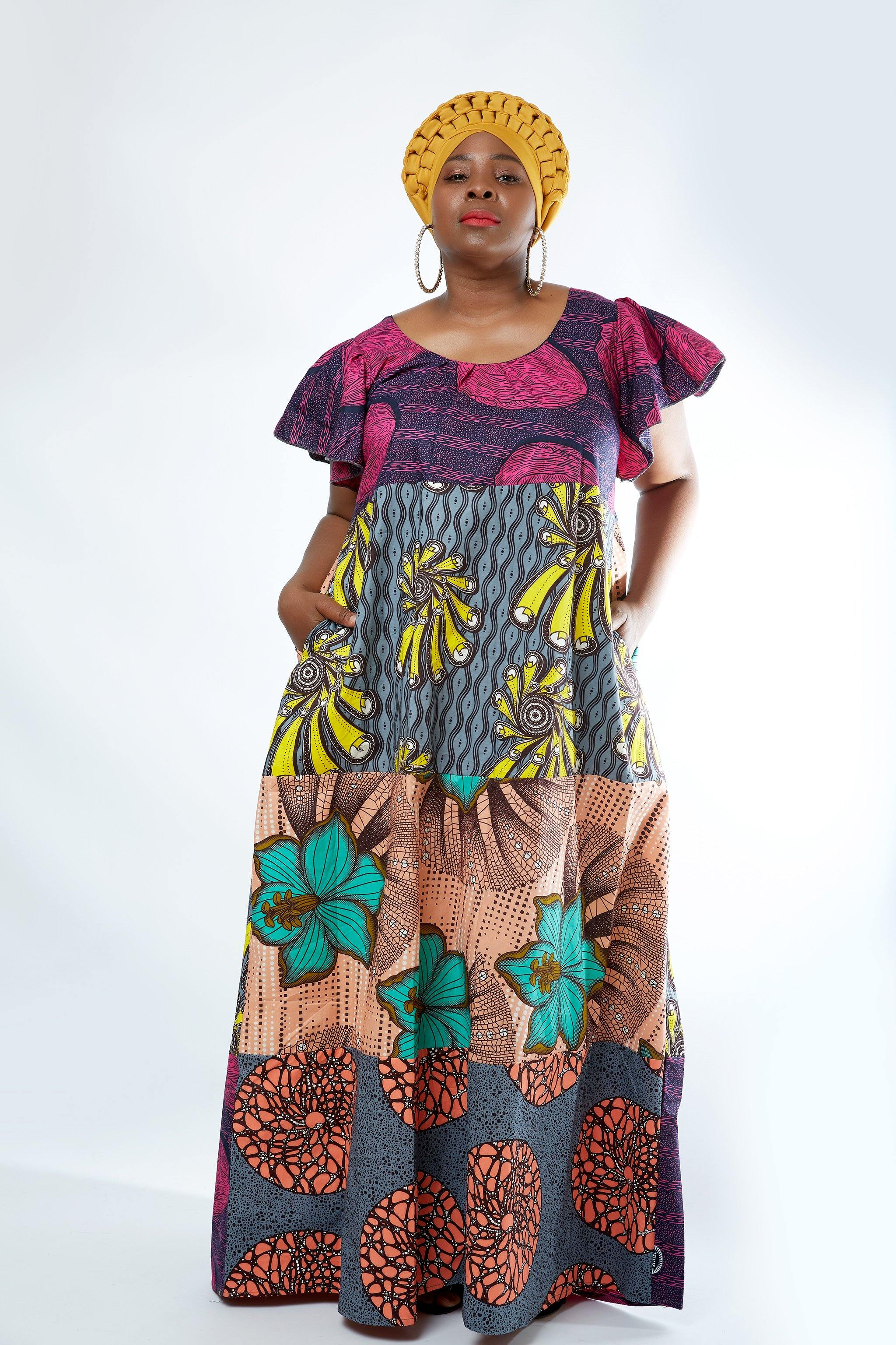 WAA- Ankara Patchwork Flutter Sleeve Maxi Dress (Curve) - waafashion