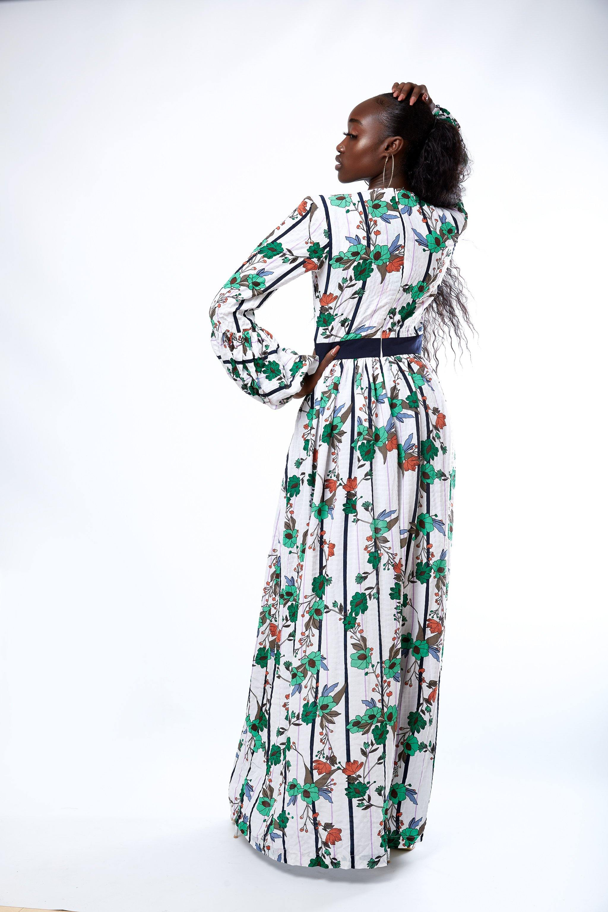 MsbeeFab- Balloon sleeve Floral Maxi Dress - waafashion