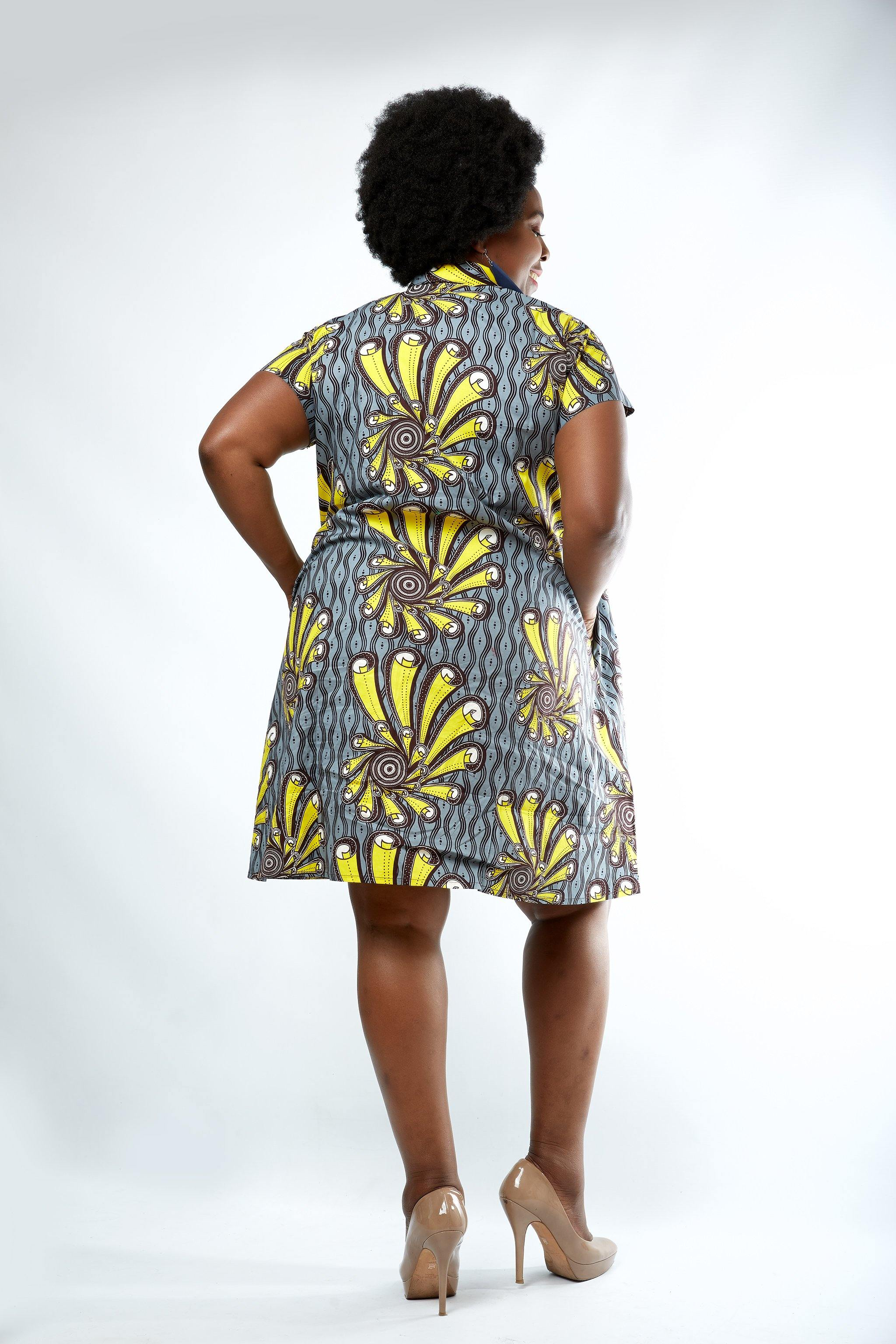 WAA- Ankara Shirt Dress (Curve) - waafashion