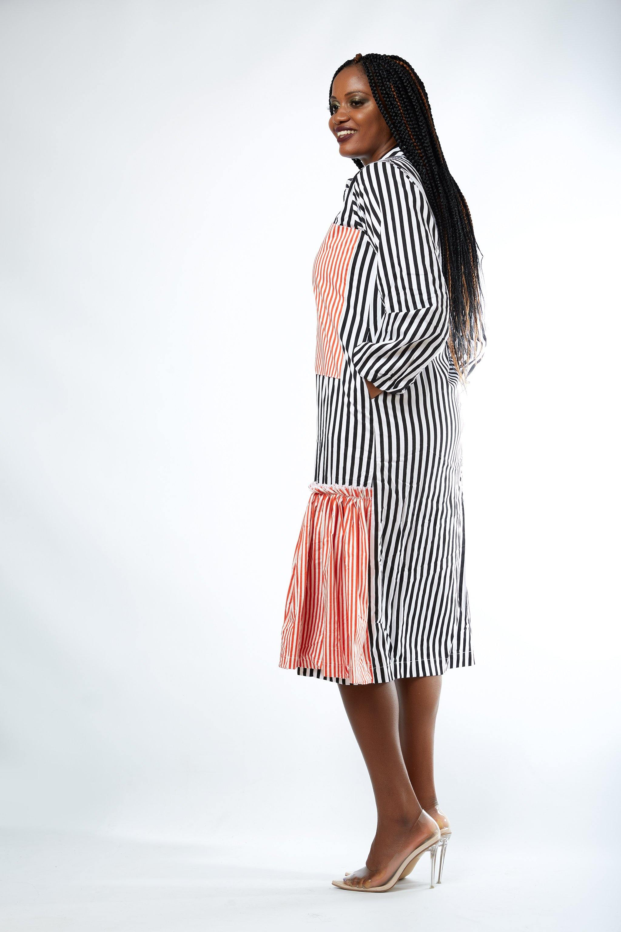 MsbeeFab- Striped Contrast Pocket Shirt Dress - waafashion