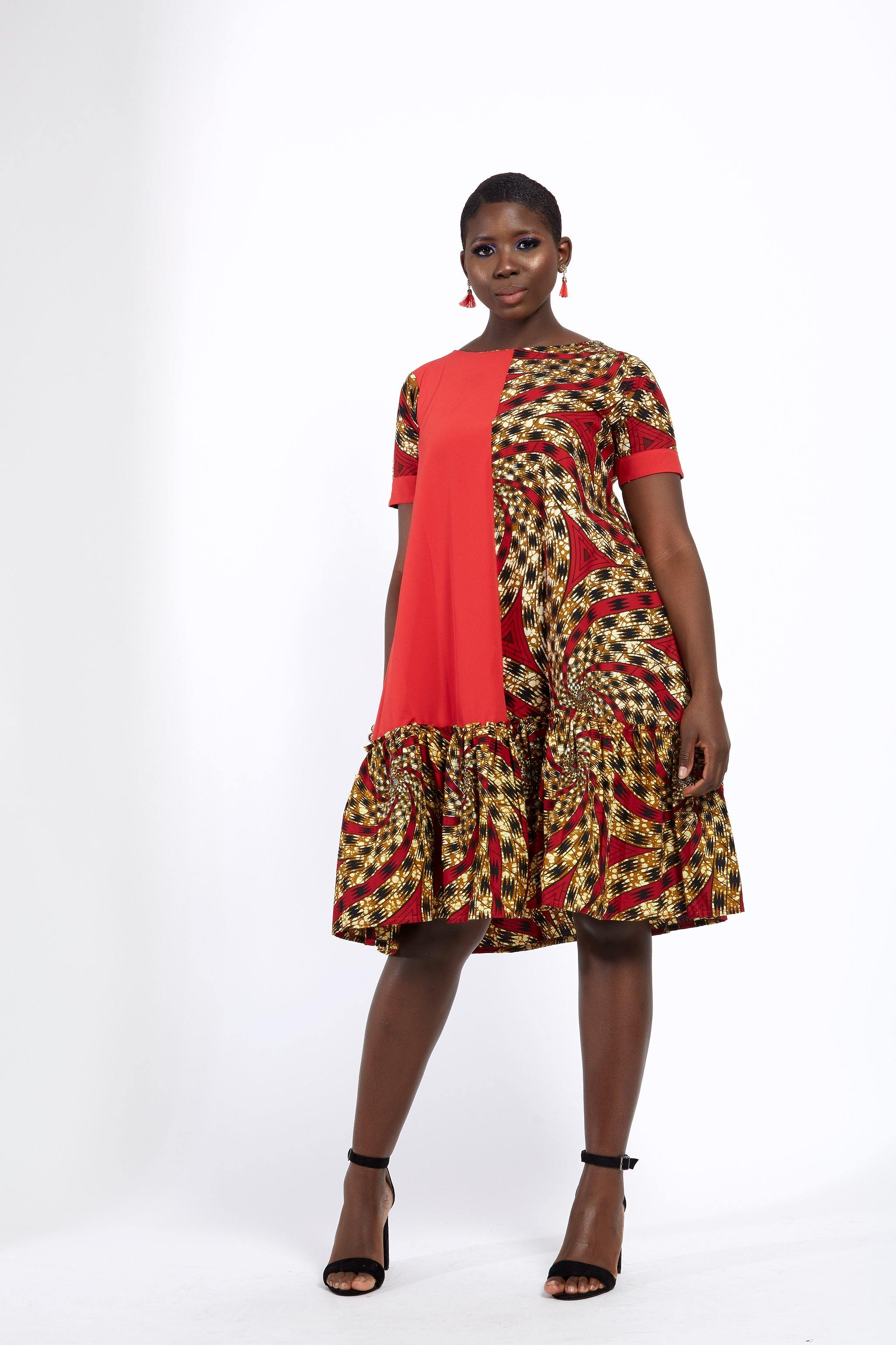 WAA- Ankara Mix Trapeze Shift Dress - waafashion