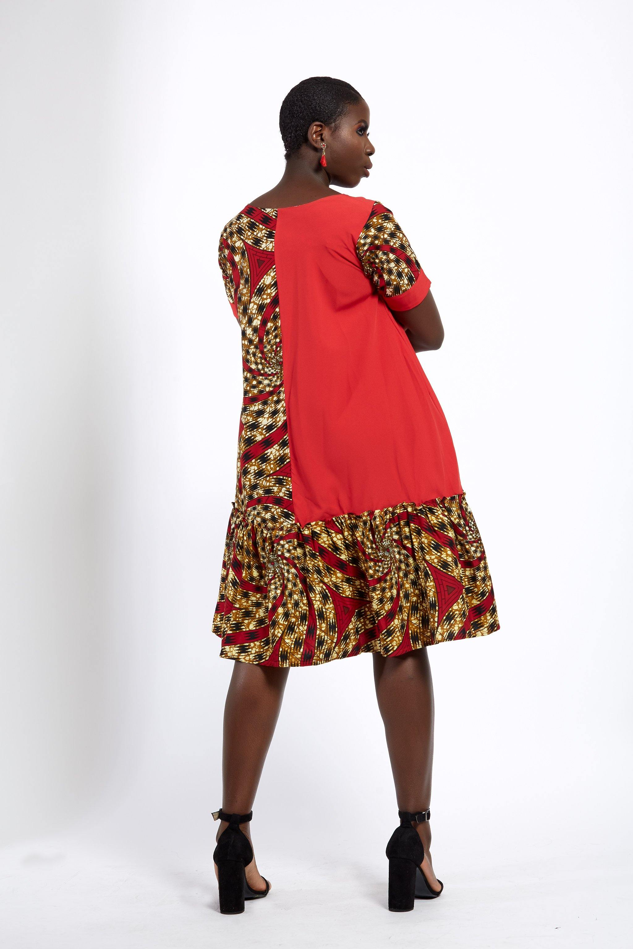 WAA- Imo Ankara Mix Trapeze Shift Dress - waafashion