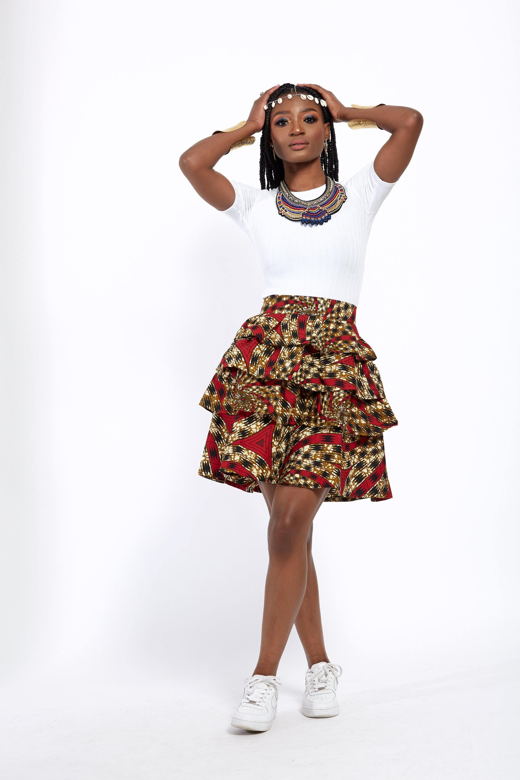 WAA- Rara Tiered Ankara Mini Skirt - waafashion