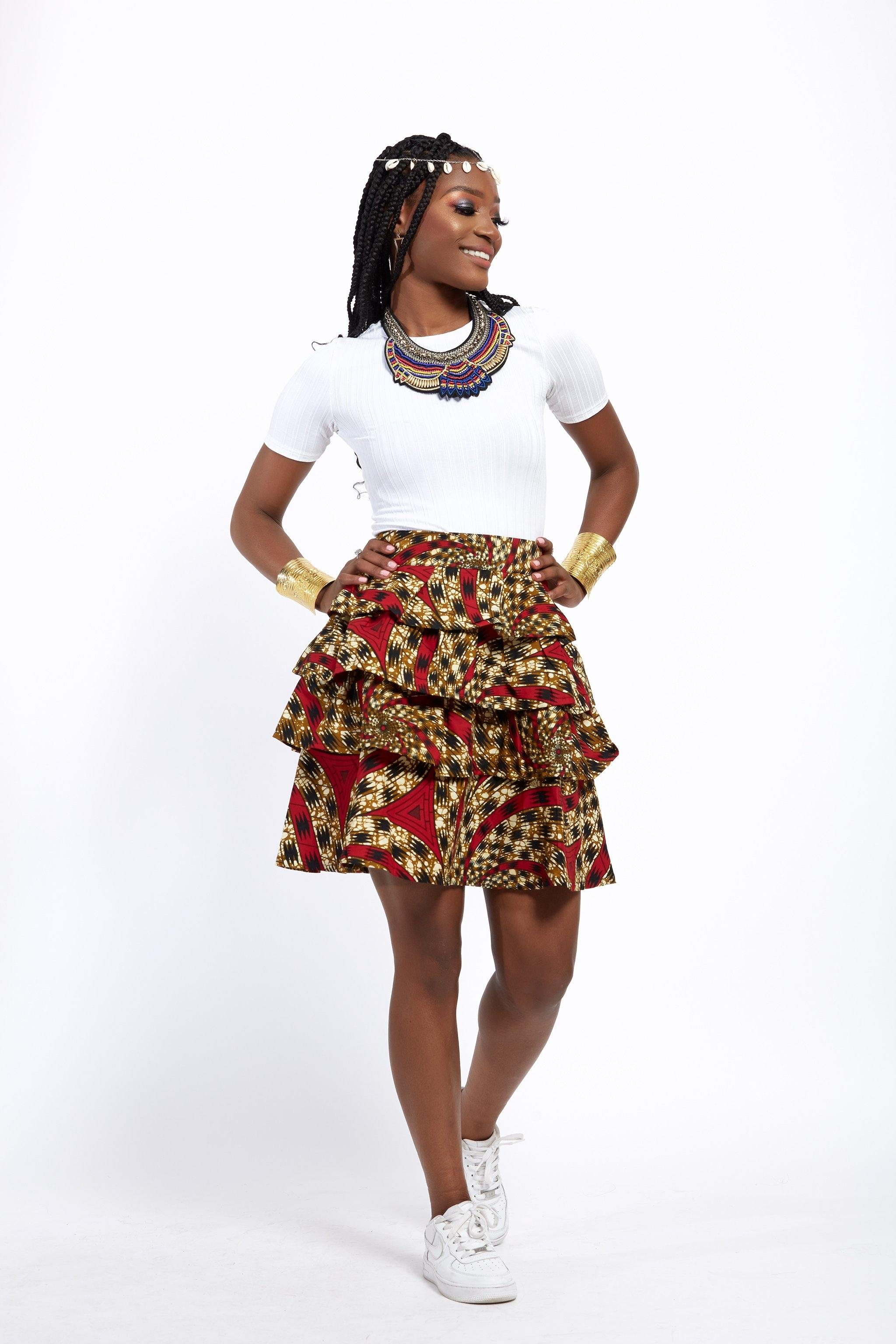 WAA- Ankara Tiered Mini Skirt - waafashion