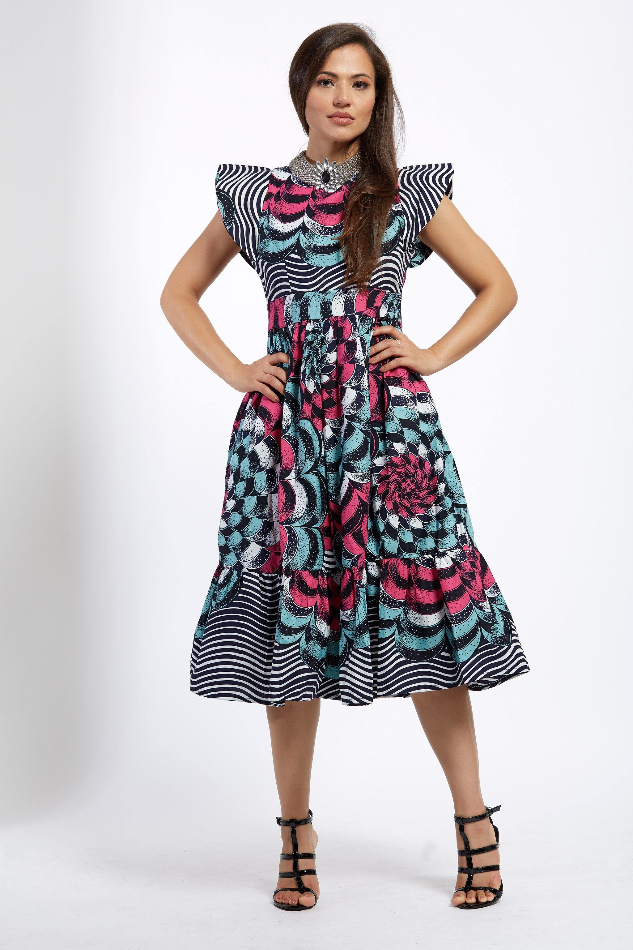 WAA- Structured Sleeve Midi Dress (Ankara)