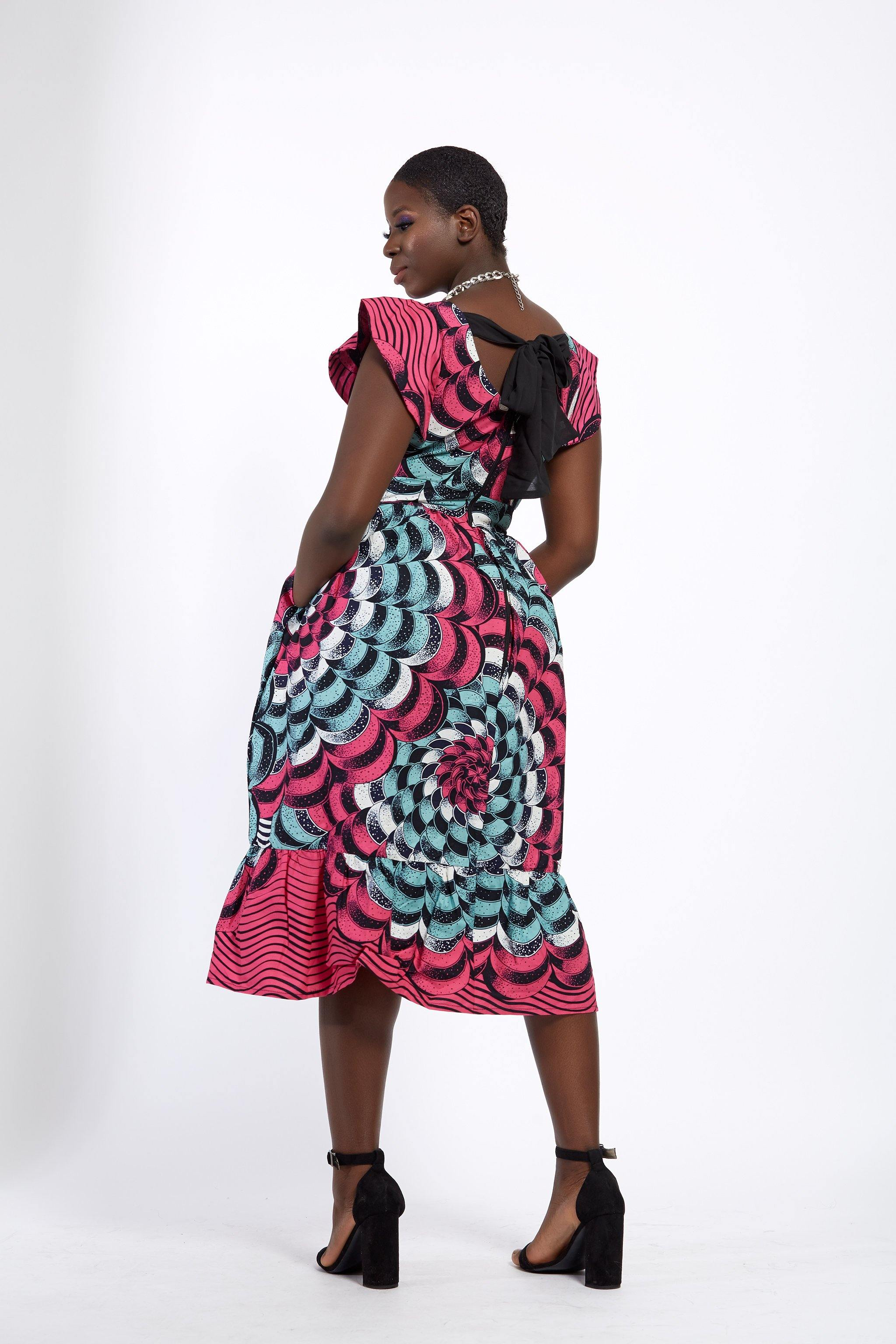 WAA- Structured Sleeve Midi Dress (Ankara) - waafashion