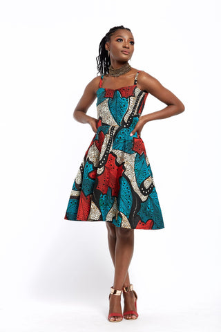WAA- Ankara Mini Skater Sundress - waafashion