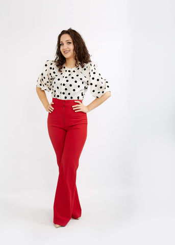 Eki Oris - Polka Balloon Short Sleeve Blouse - waafashion