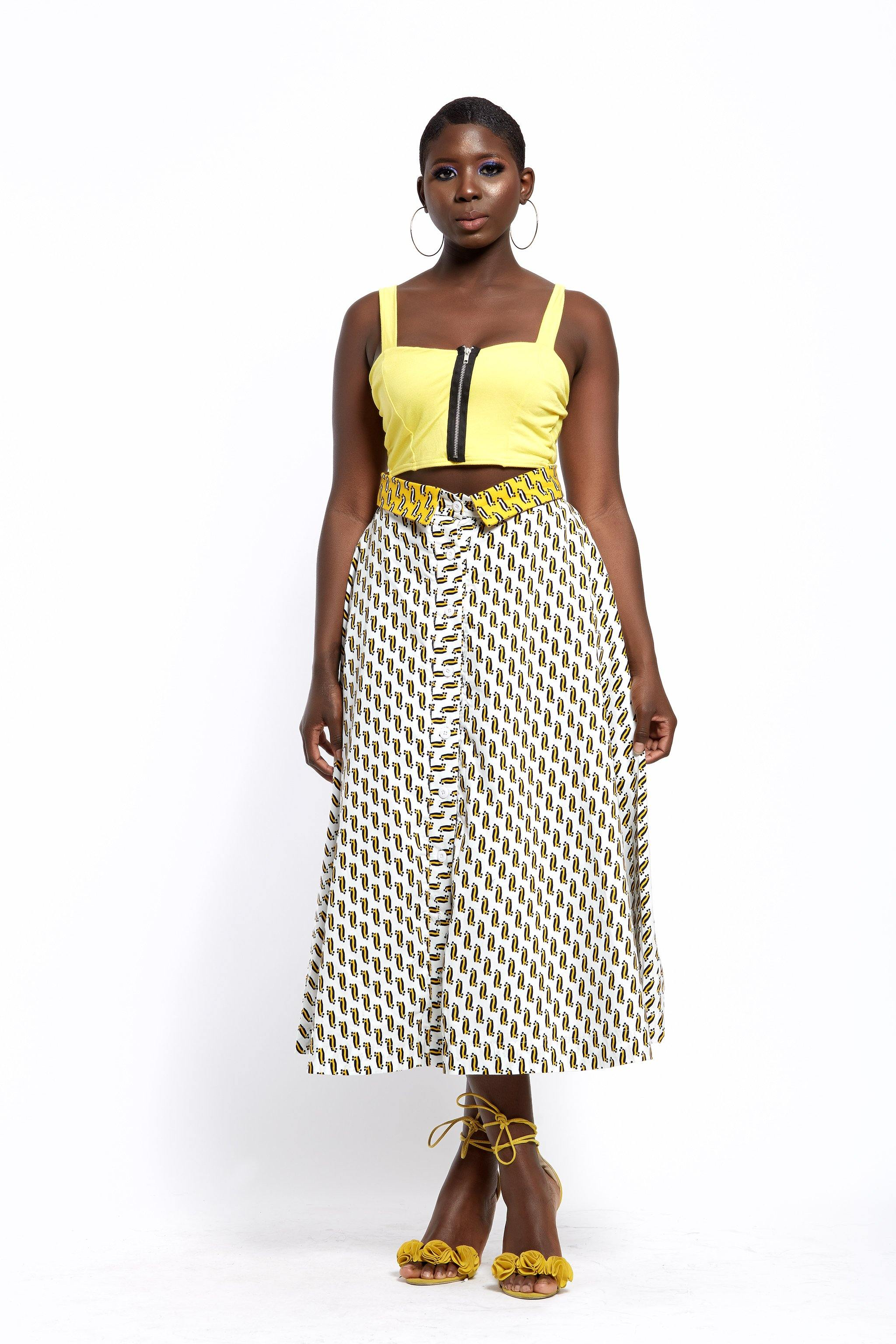 MsbeeFab- Ankara Button-Through Midi Skirt