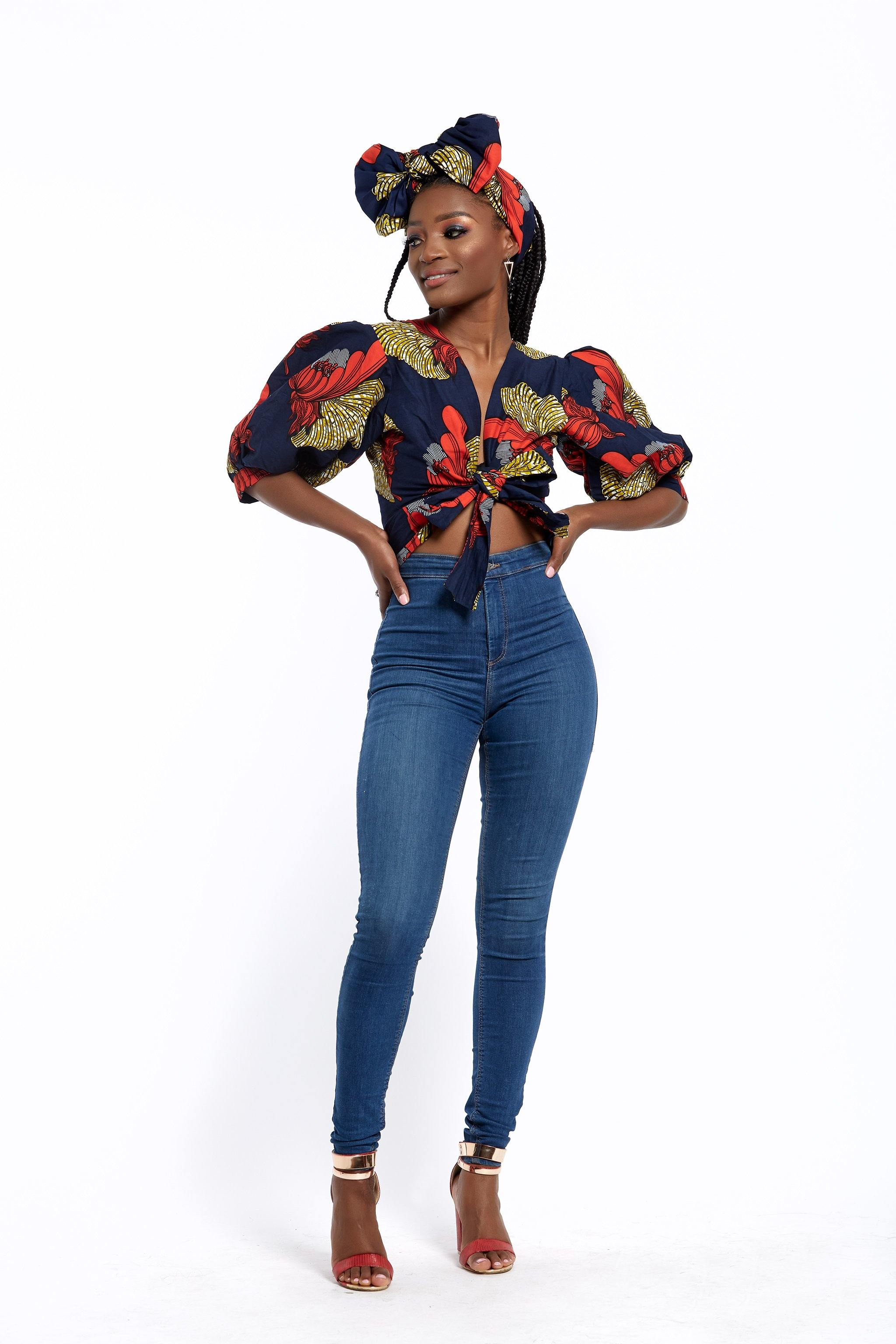 WAA- Crop Front-tie Top with Puff Sleeves - waafashion