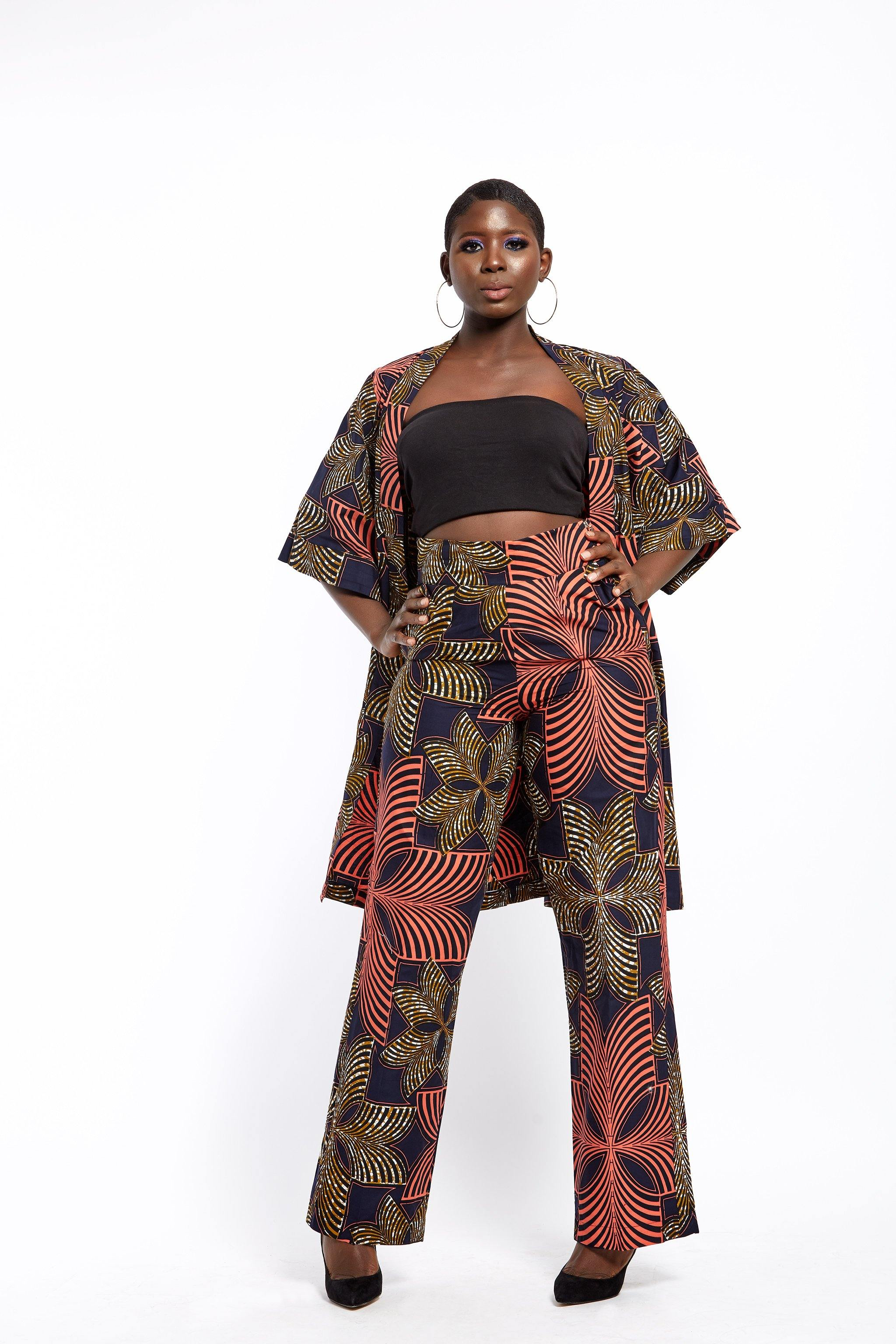 WAA- Ankara Kimono and Trouser Set - waafashion