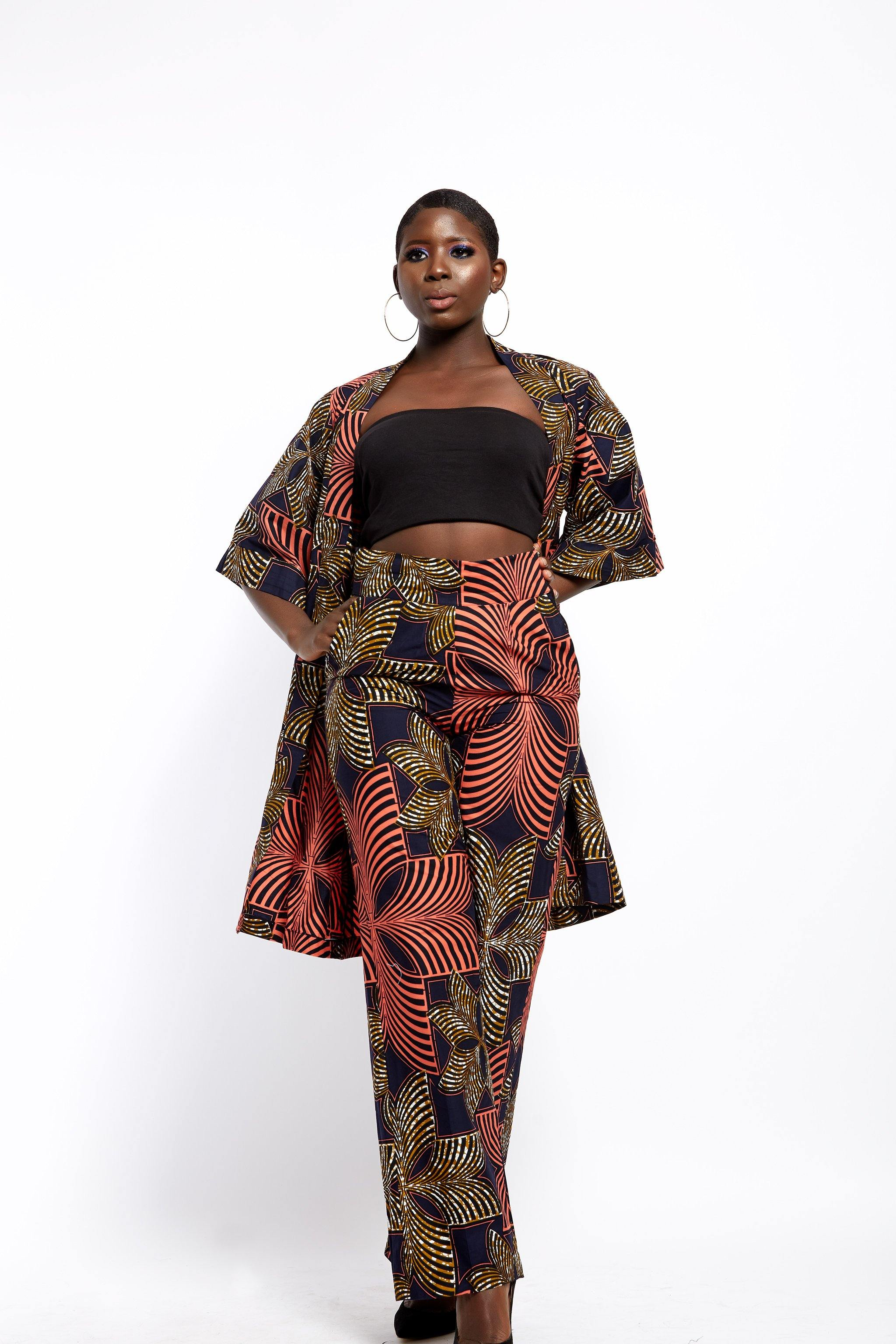 WAA- Lafiaji Ankara Straight-Leg Trousers (Tall) - waafashion