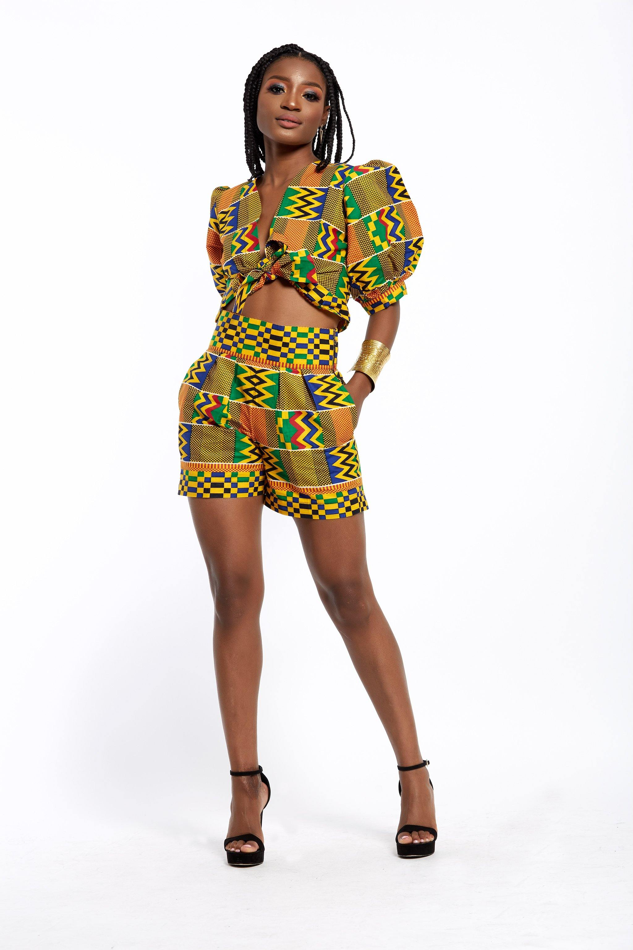 WAA- Crop Front-tie Top with Puff Sleeves (Kente Print) - waafashion