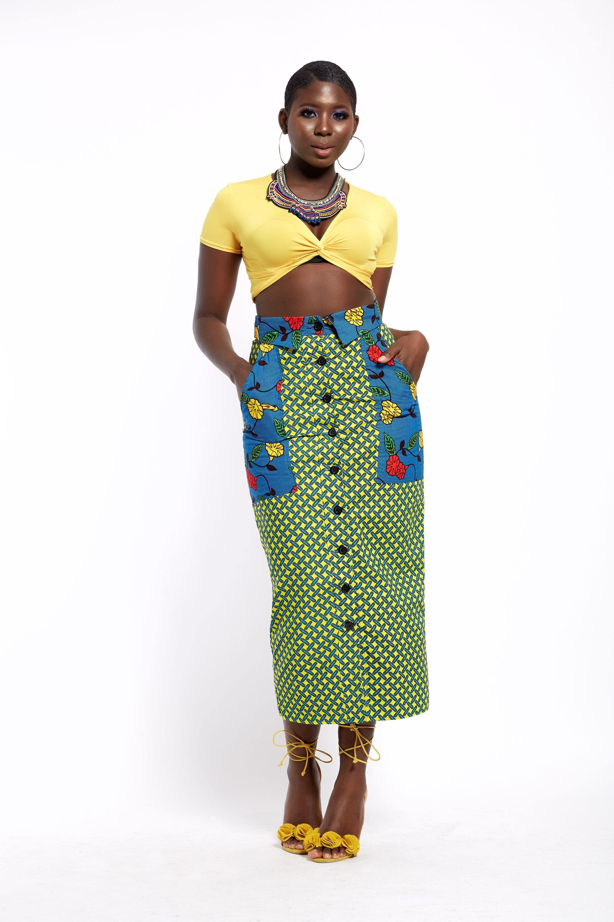 MsbeeFab- Ankara Patch Pocket Pencil Skirt