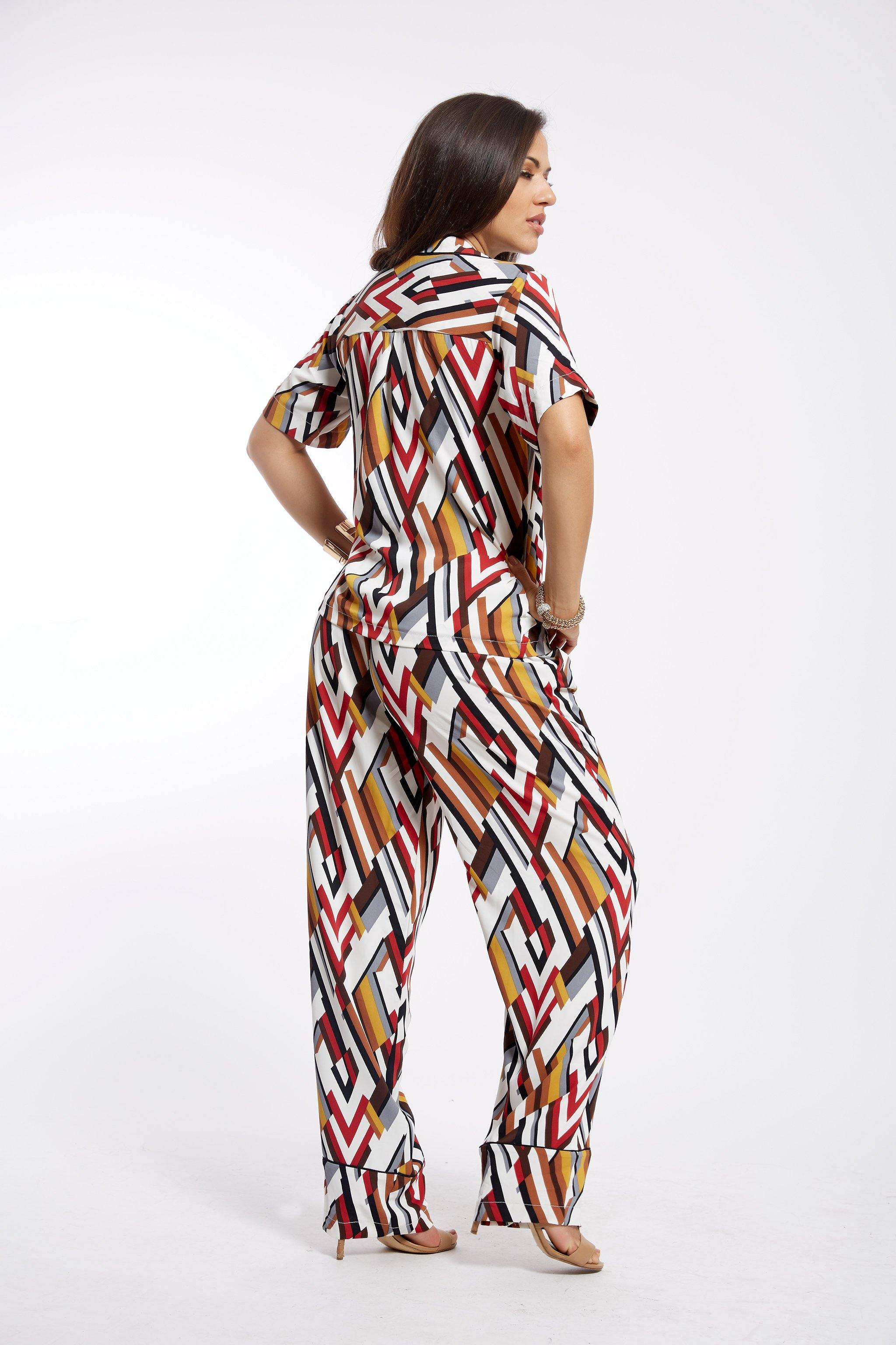 MsbeeFab- Shirt and Trouser Pyjama Set - waafashion
