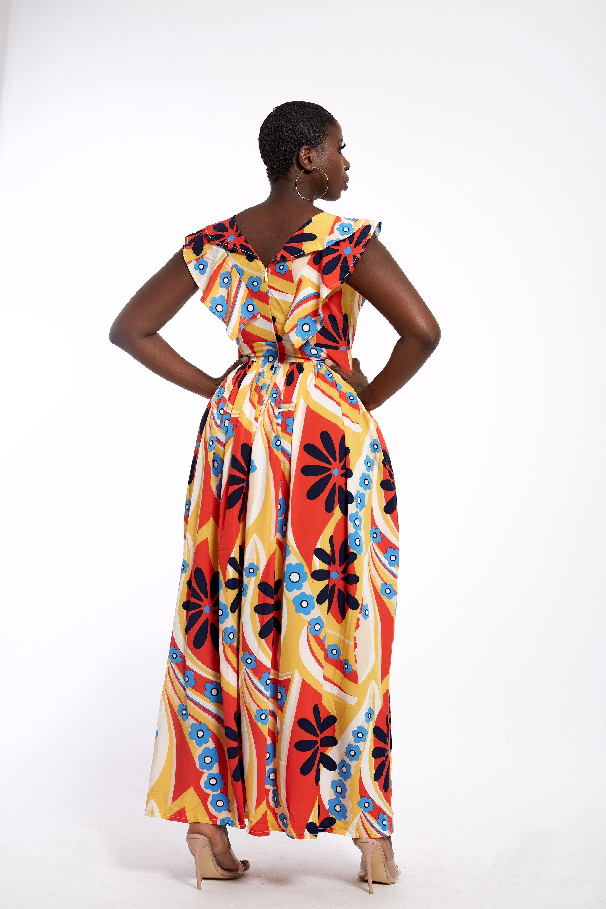 Discover made in Africa fashion| Front Frill Maxi Dress| Bold and Bright print dress|Made in Africa - waafashion
