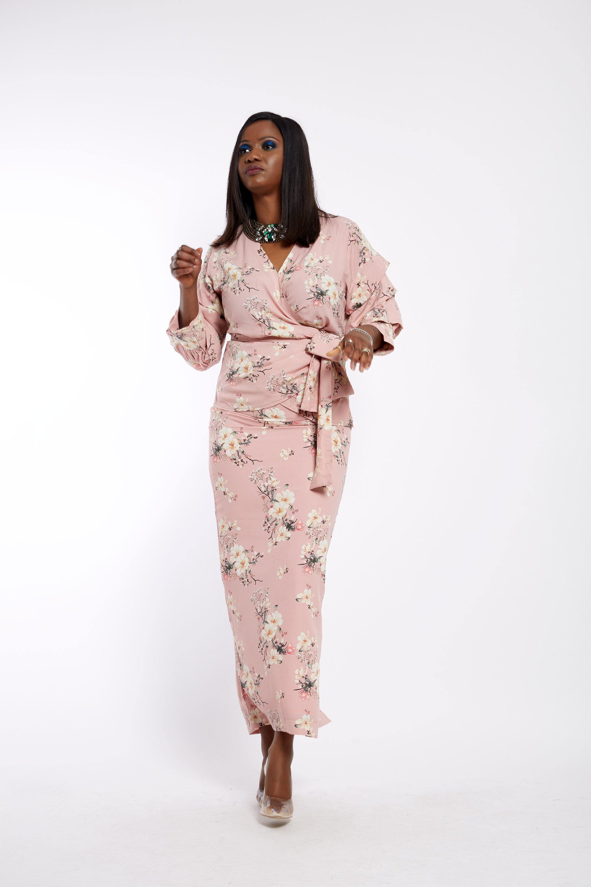 Pink Fleur- Wrap Blouse and Pencil Maxi Skirt Set - waafashion