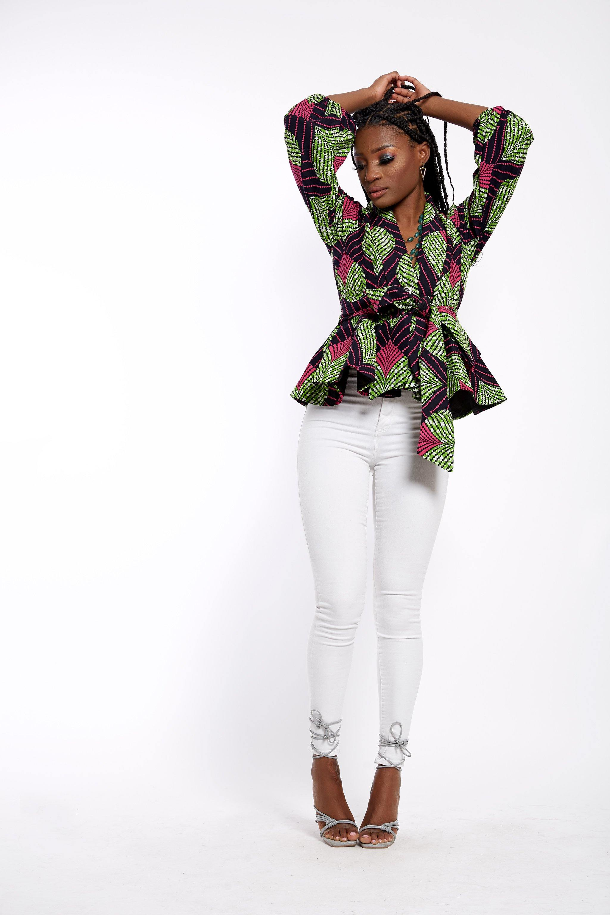 WAA- Ankara Peplum Jacket with Detachable Belt