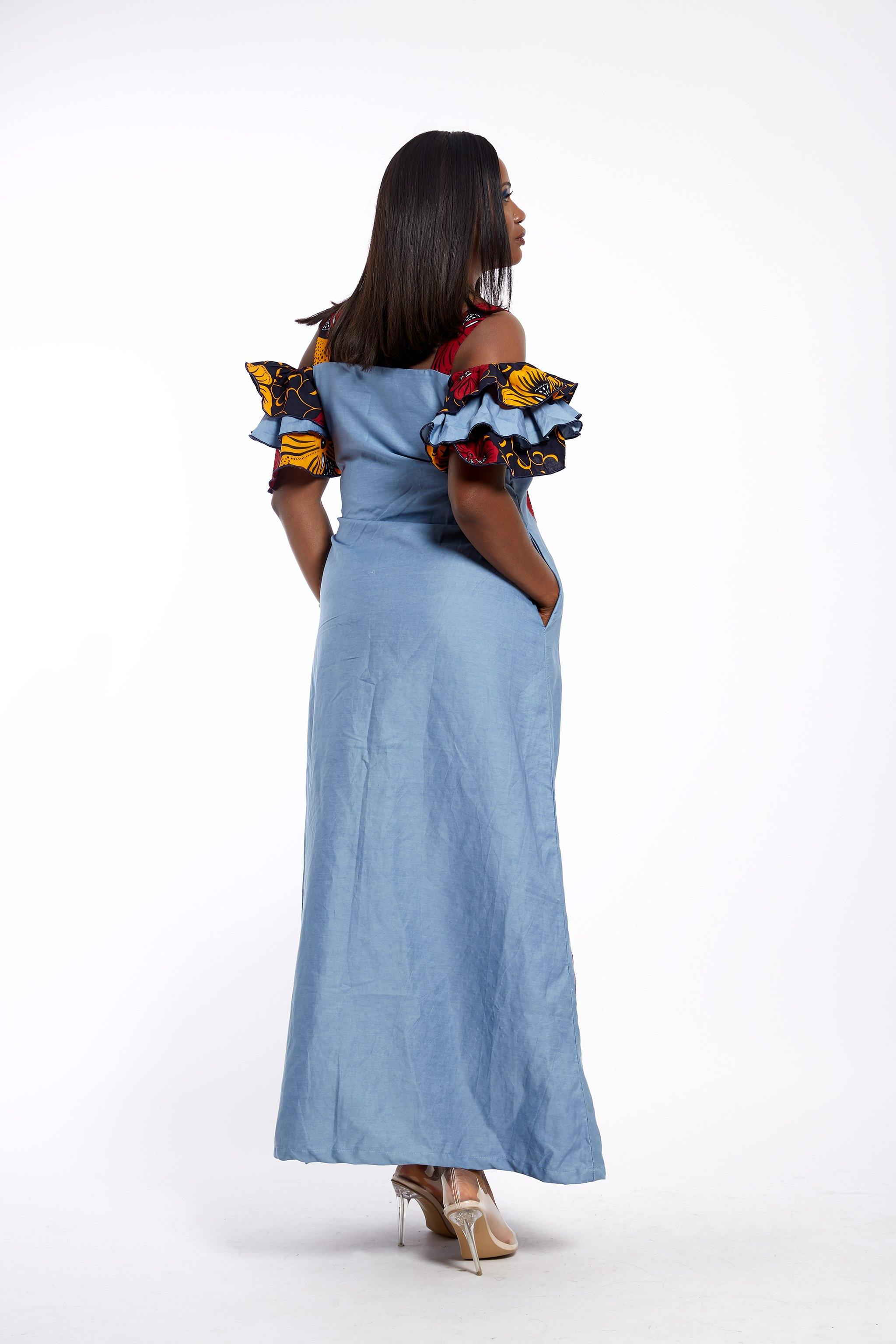 WAA- Embellished Denim and Ankara Maxi Dress