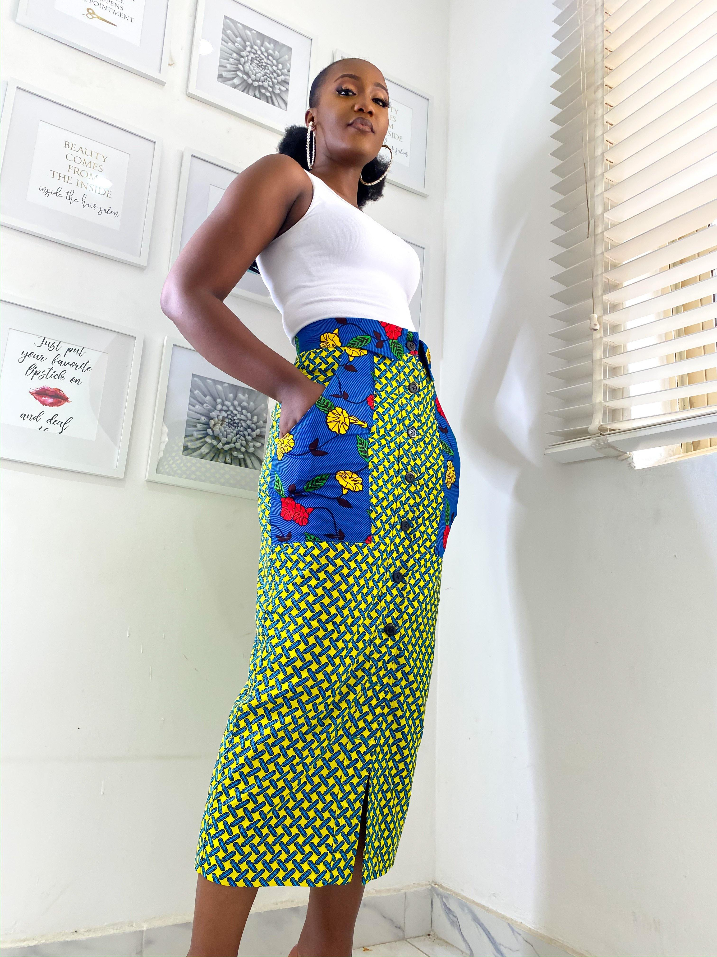 MsbeeFab- Ankara Patch Pocket Pencil Skirt - waafashion