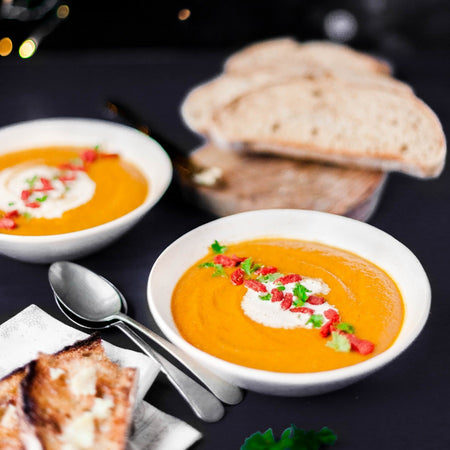Spiced carrot lentil soup