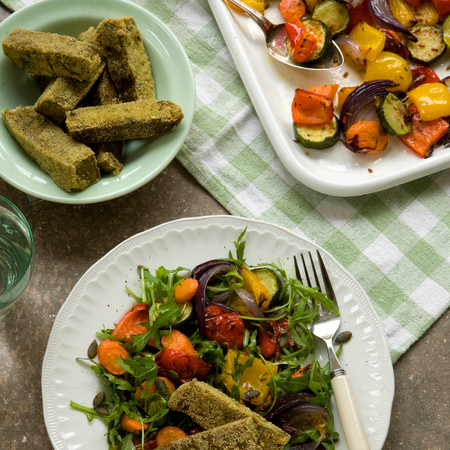 Roasted Vegetables with Hemp Polenta Chips