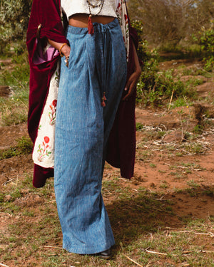 wide leg palazzo cotton yoga pants handcraft recycling fashion lilabare ships slow fashion from kenya to the world online boutique