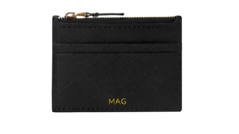 Lia Saffiano Zipped Card Holder (Sombre Black)