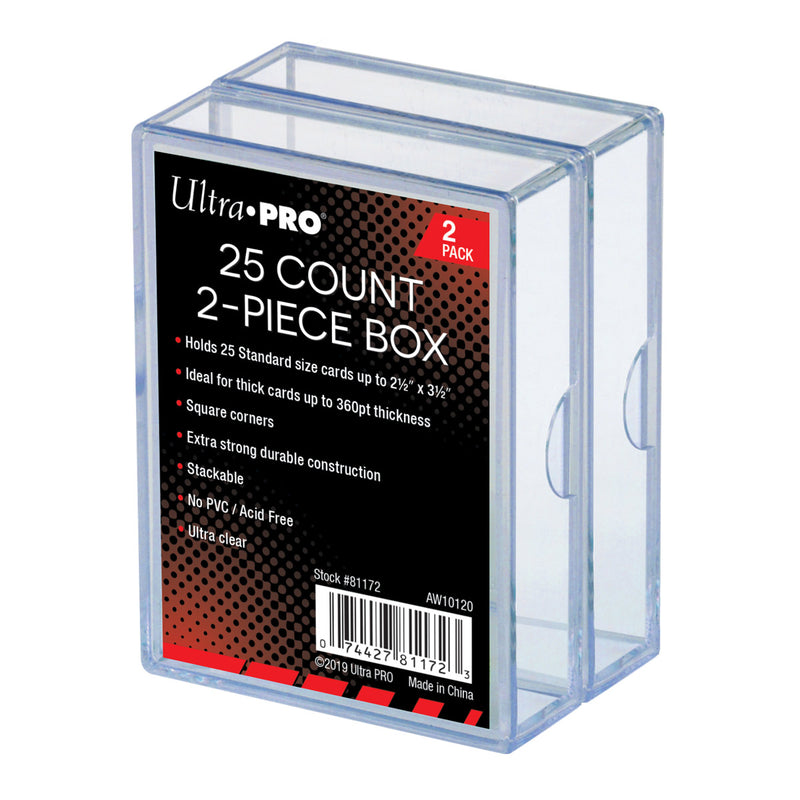2-Piece 25 ct. Clear Card Storage Box (2 Pack) - Ultra PRO International