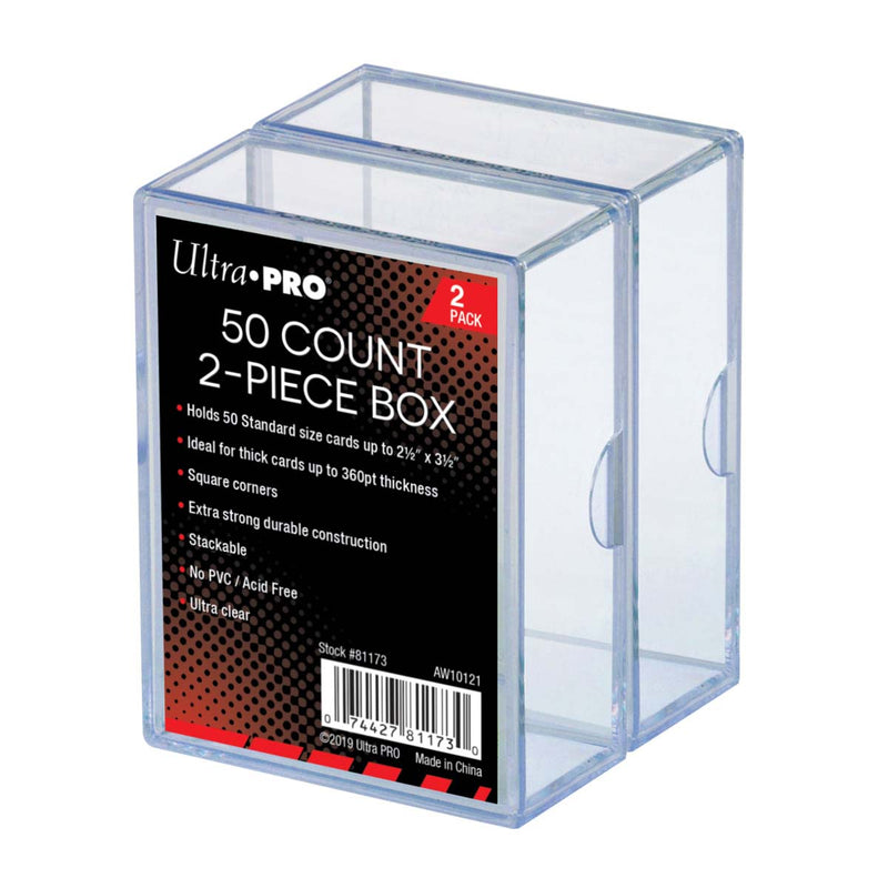 Two-Piece 50 ct. Clear Card Storage Box (2 Pack) - Ultra PRO International