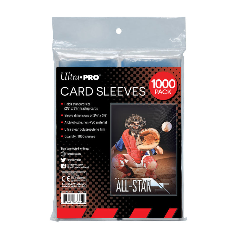 "Clear Card Sleeves for Standard Size Trading Cards - 2.5"" x 3.5"" (1000 ct. retail pack) - Ultra PRO International"