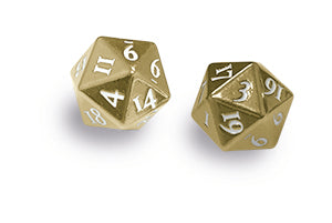 Heavy Metal D20 2-Dice Set - Gold w/ White Numbers - Ultra PRO International