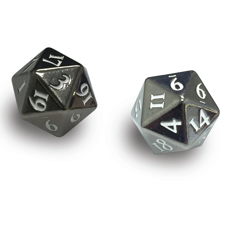 Heavy Metal D20 2-Dice Set - Gun Metal w/ White Numbers - Ultra PRO International
