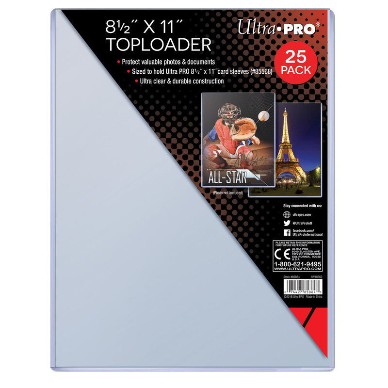 "8.5"" X 11"" Toploader for 8.5"" x 11"" Sleeves (25 ct.) - Ultra PRO International"