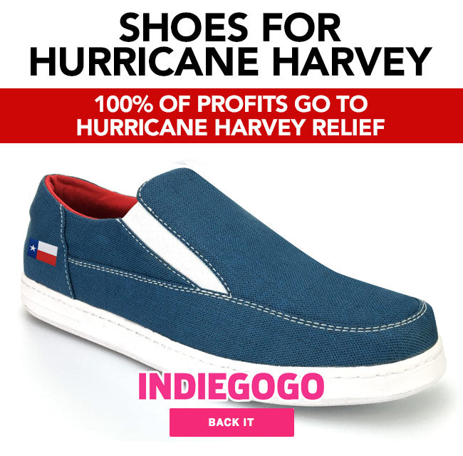 We're building this shoe in the colors of the American and Texas flags with 100% of the profits going to Hurricane Harvey Survivors.