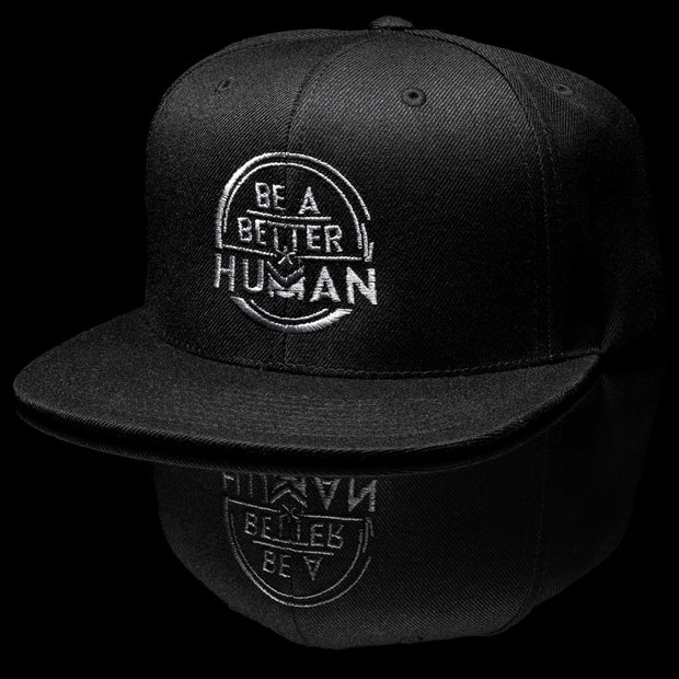 Be a Better Human Snap Back Hat  - Black and Grey