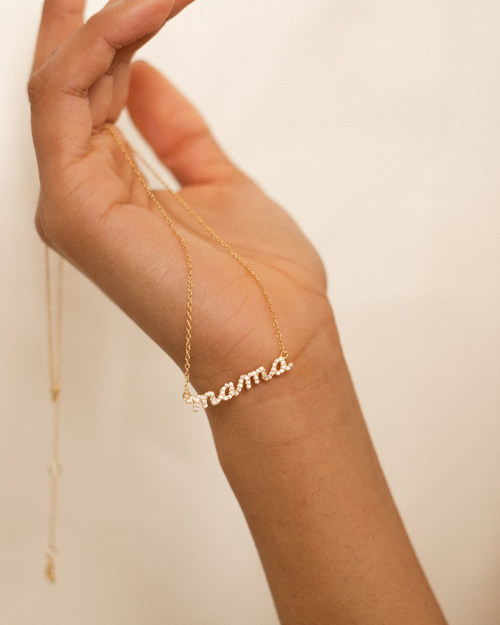 pave mama necklace, pave script necklace, mama script necklace, pave script mama necklace, mother script necklace, mother's day jewelry, mother's day necklace, mama necklace, mother necklace, mother's day gift, sterling silver jewelry, 18k gold, dainty jewelry, dainty necklaces, mother necklace, necklace for mother, birthday gift, mama letter necklace
