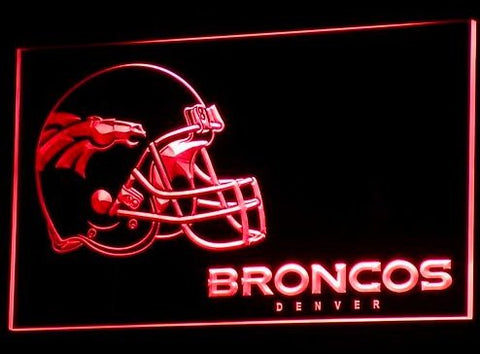 Denver Broncos Helmet Neon Sign (B318-b. Light. Pub. Nr. Bar. LED)