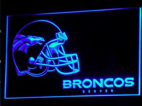 b318-b Denver Broncos Helmet Bar Pub NR Neon Light Sign