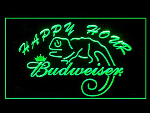 Budweiser Lizard Happy Hour Neon Sign (Drink. LED. Light)