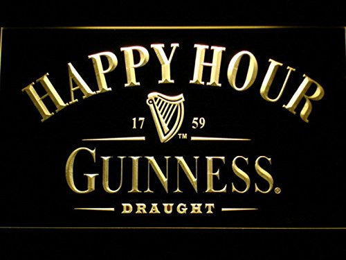Guinness Happy Hour Neon Sign (Light. Bar. LED. Man Cave. 600 Y)