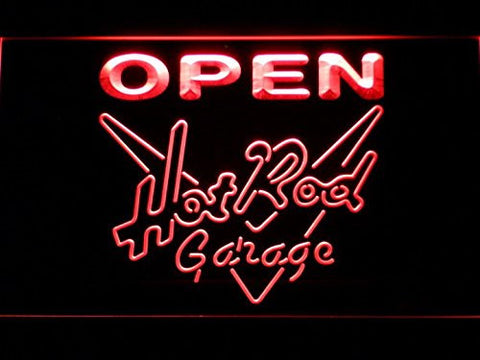 Hot Rod Garage OPEN Neon Sign (Light. Man Cave. Beer Bar. LED)